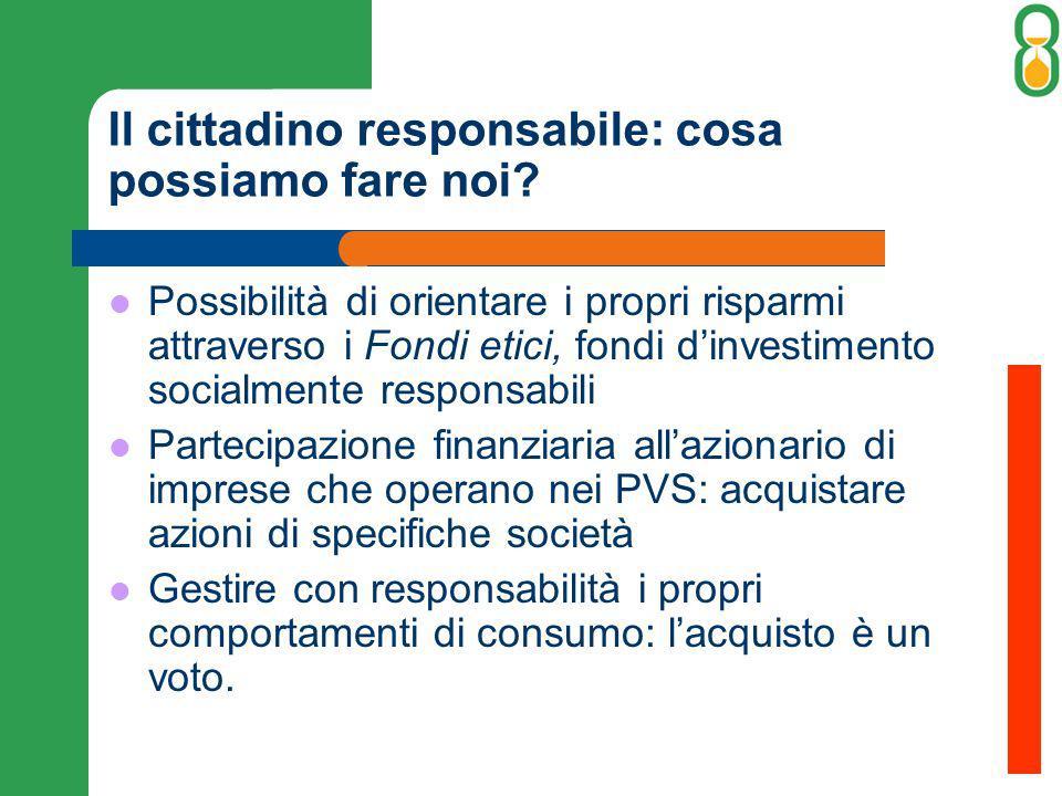 Il cittadino responsabile: cosa possiamo fare noi? Possibilità di orientare i propri risparmi attraverso i Fondi etici, fondi dinvestimento socialment