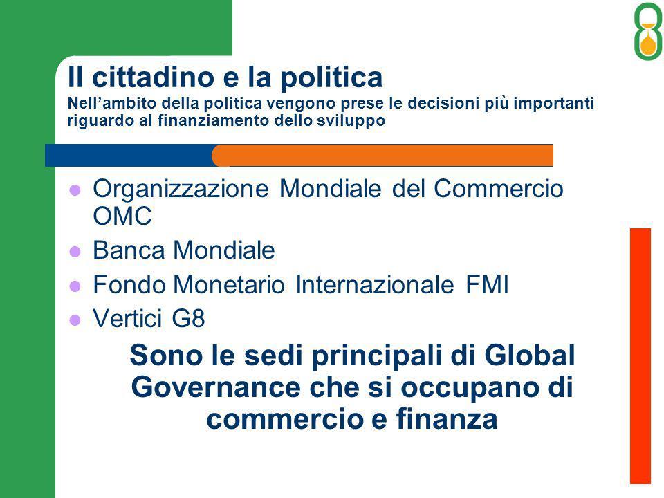 Il cittadino e la politica Nellambito della politica vengono prese le decisioni più importanti riguardo al finanziamento dello sviluppo Organizzazione Mondiale del Commercio OMC Banca Mondiale Fondo Monetario Internazionale FMI Vertici G8 Sono le sedi principali di Global Governance che si occupano di commercio e finanza