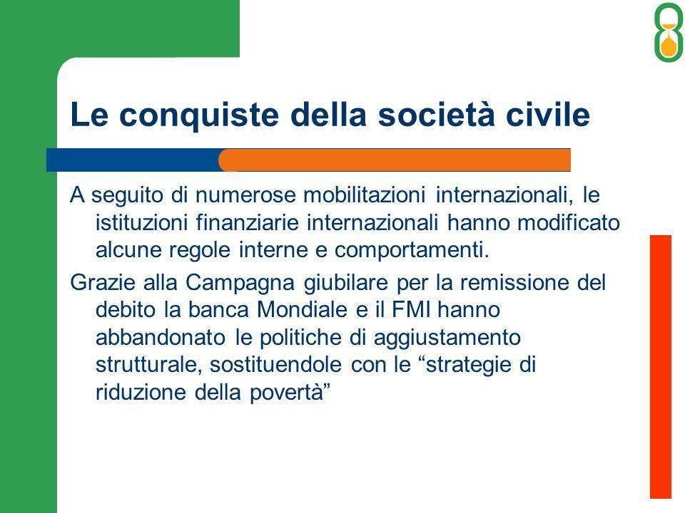 Le conquiste della società civile A seguito di numerose mobilitazioni internazionali, le istituzioni finanziarie internazionali hanno modificato alcune regole interne e comportamenti.