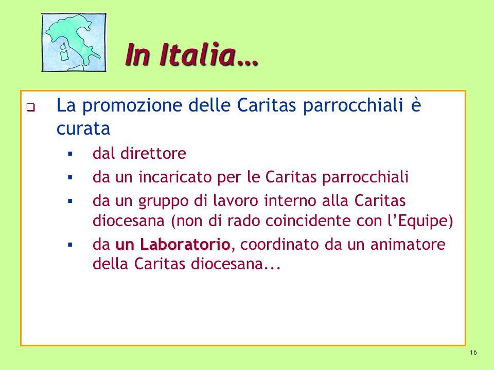 16 In Italia… La promozione delle Caritas parrocchiali è curata dal direttore da un incaricato per le Caritas parrocchiali da un gruppo di lavoro inte