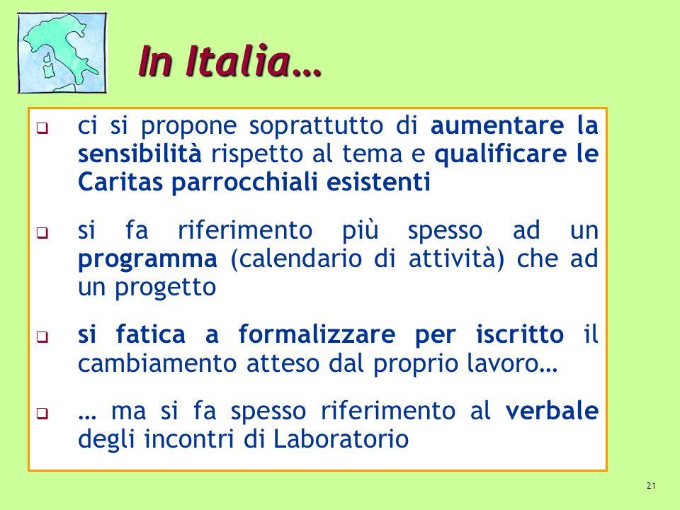 21 In Italia… ci si propone soprattutto di aumentare la sensibilità rispetto al tema e qualificare le Caritas parrocchiali esistenti si fa riferimento