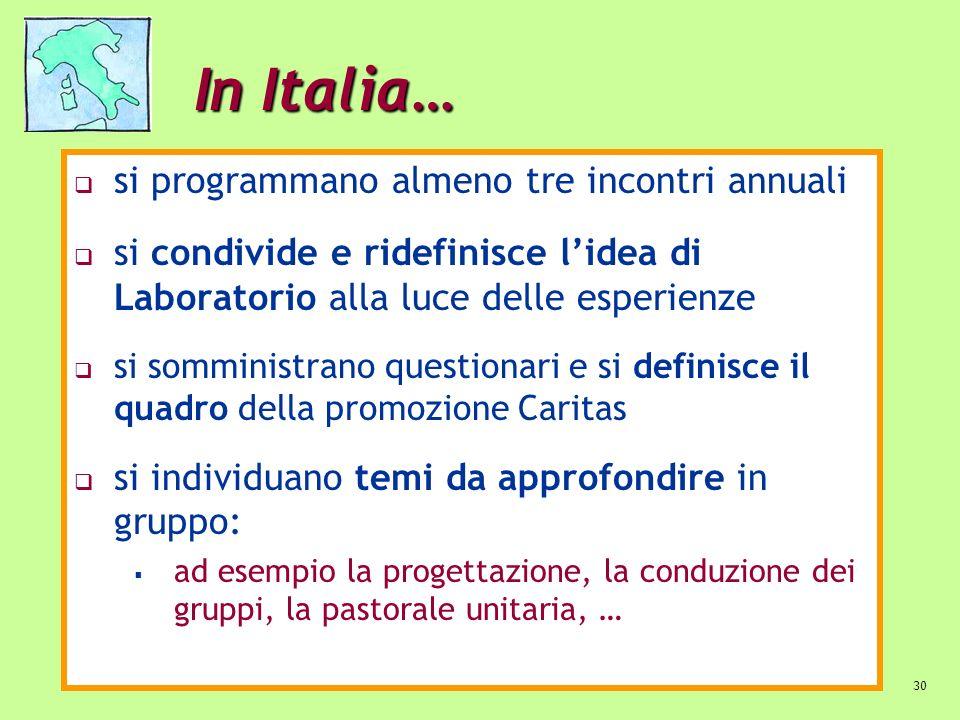 30 In Italia… si programmano almeno tre incontri annuali si condivide e ridefinisce lidea di Laboratorio alla luce delle esperienze si somministrano q