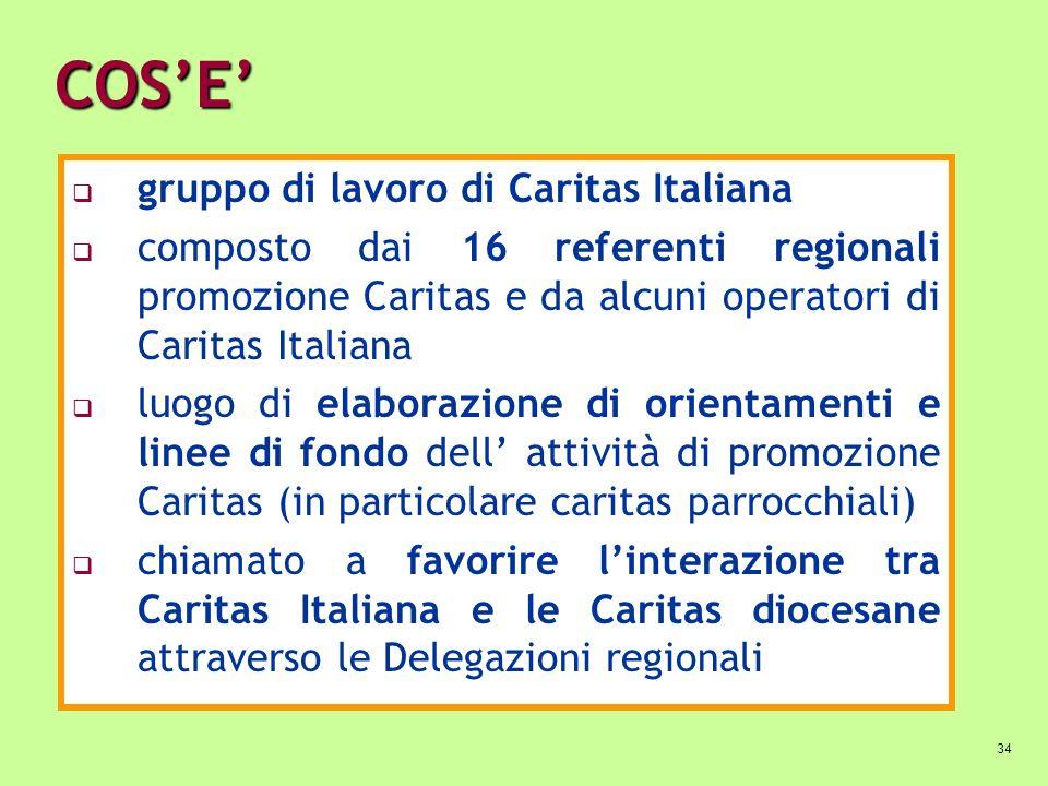 34 COSE gruppo di lavoro di Caritas Italiana composto dai 16 referenti regionali promozione Caritas e da alcuni operatori di Caritas Italiana luogo di