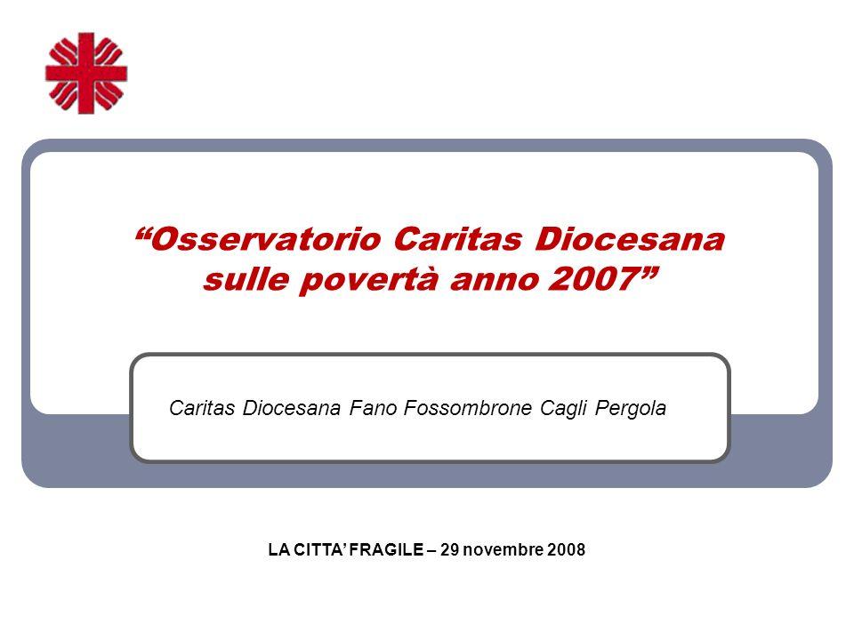 Osservatorio Caritas Diocesana sulle povertà anno 2007 Caritas Diocesana Fano Fossombrone Cagli Pergola LA CITTA FRAGILE – 29 novembre 2008