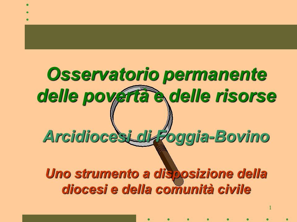 1 Osservatorio permanente delle povertà e delle risorse Arcidiocesi di Foggia-Bovino Uno strumento a disposizione della diocesi e della comunità civil