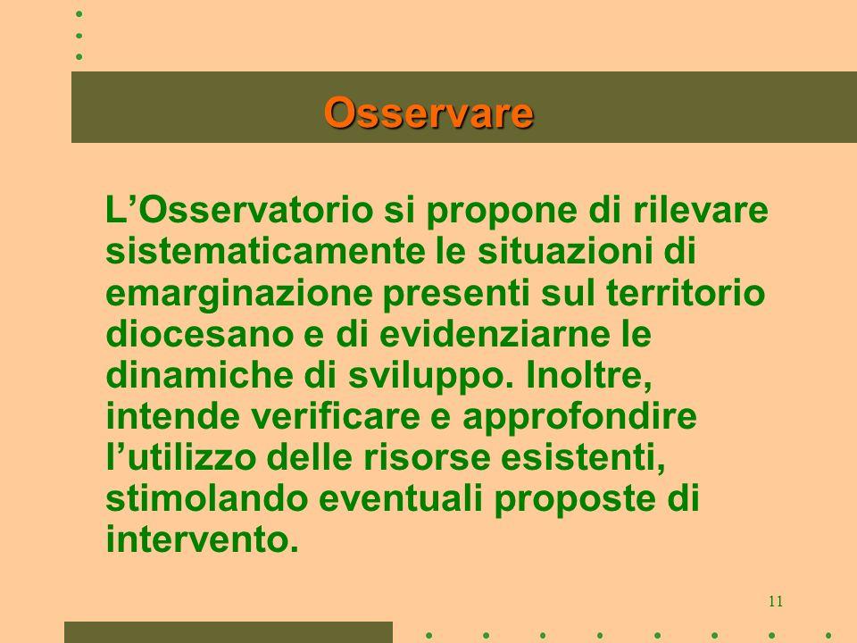 11 Osservare LOsservatorio si propone di rilevare sistematicamente le situazioni di emarginazione presenti sul territorio diocesano e di evidenziarne le dinamiche di sviluppo.
