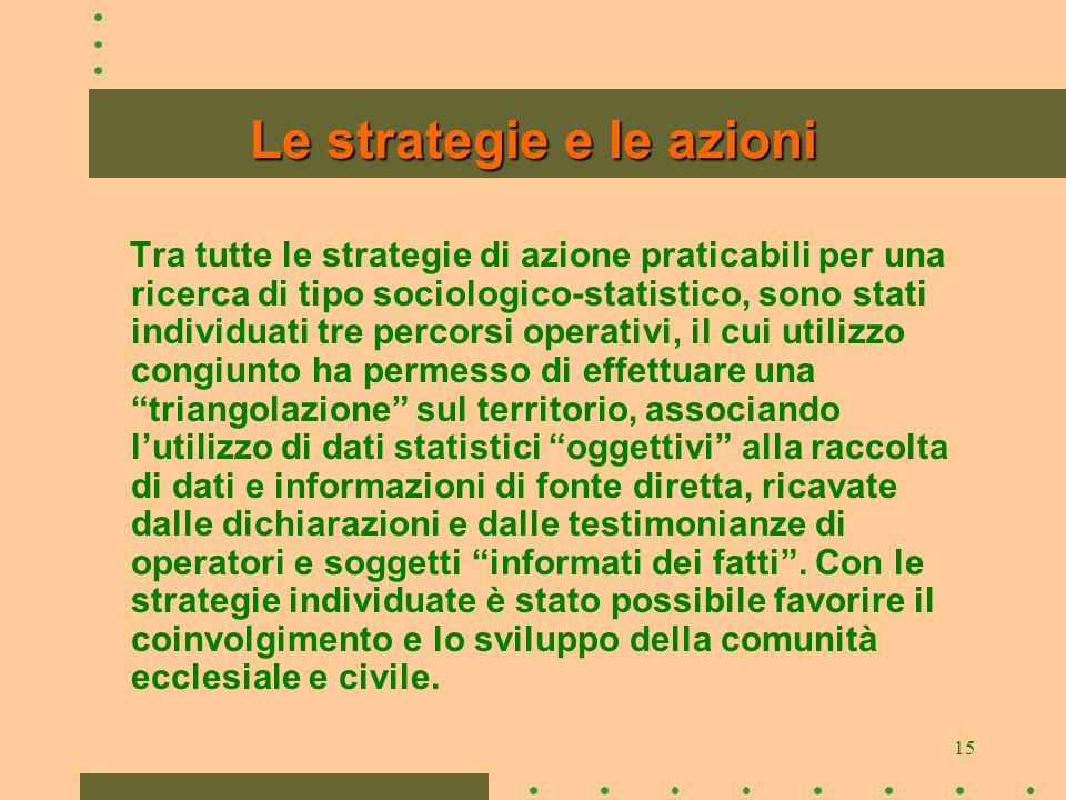 15 Le strategie e le azioni Tra tutte le strategie di azione praticabili per una ricerca di tipo sociologico-statistico, sono stati individuati tre pe