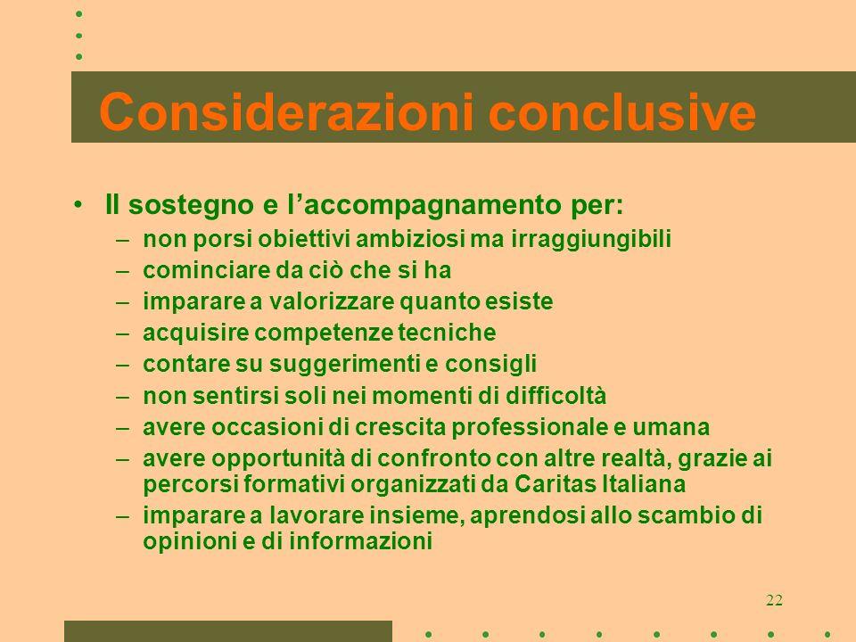 22 Considerazioni conclusive Il sostegno e laccompagnamento per: –n–non porsi obiettivi ambiziosi ma irraggiungibili –c–cominciare da ciò che si ha –i