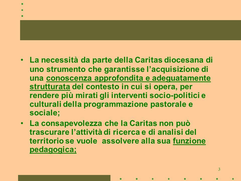 3 La necessità da parte della Caritas diocesana di uno strumento che garantisse lacquisizione di una conoscenza approfondita e adeguatamente struttura