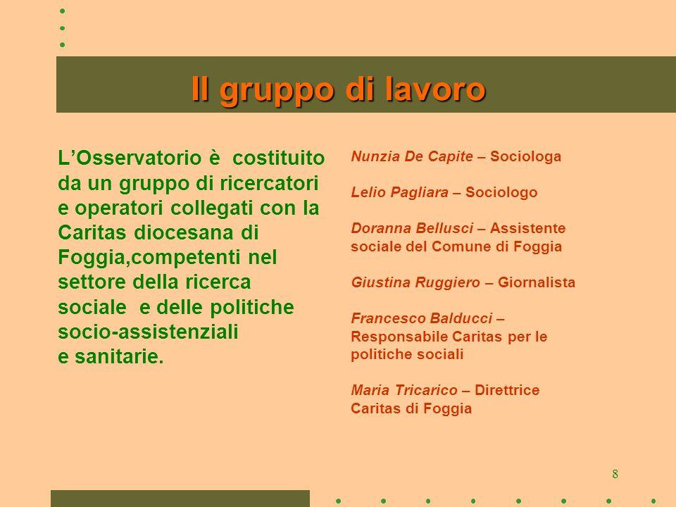 8 Il gruppo di lavoro LOsservatorio è costituito da un gruppo di ricercatori e operatori collegati con la Caritas diocesana di Foggia,competenti nel settore della ricerca sociale e delle politiche socio-assistenziali e sanitarie.