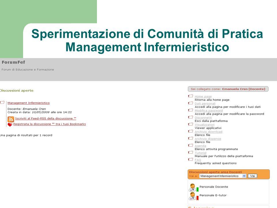 Sperimentazione di Comunità di Pratica Management Infermieristico
