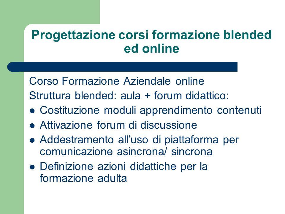 Progettazione corsi formazione blended ed online Corso Formazione Aziendale online Struttura blended: aula + forum didattico: Costituzione moduli appr