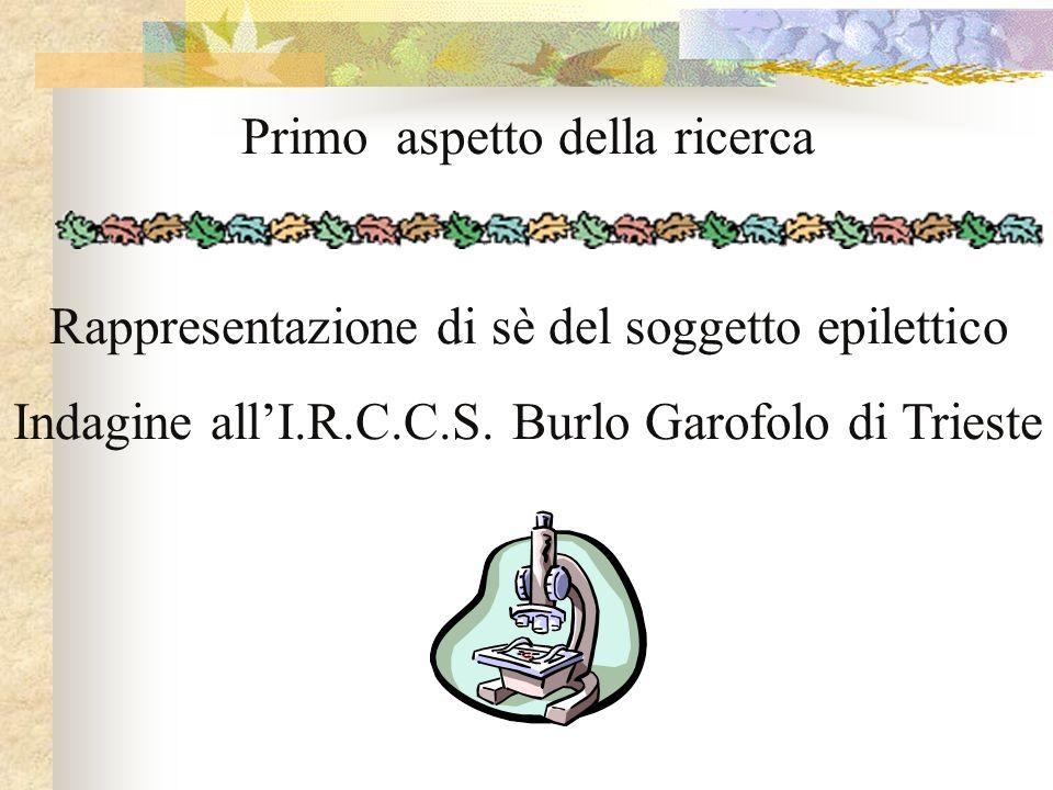 Primo aspetto della ricerca Rappresentazione di sè del soggetto epilettico Indagine allI.R.C.C.S. Burlo Garofolo di Trieste