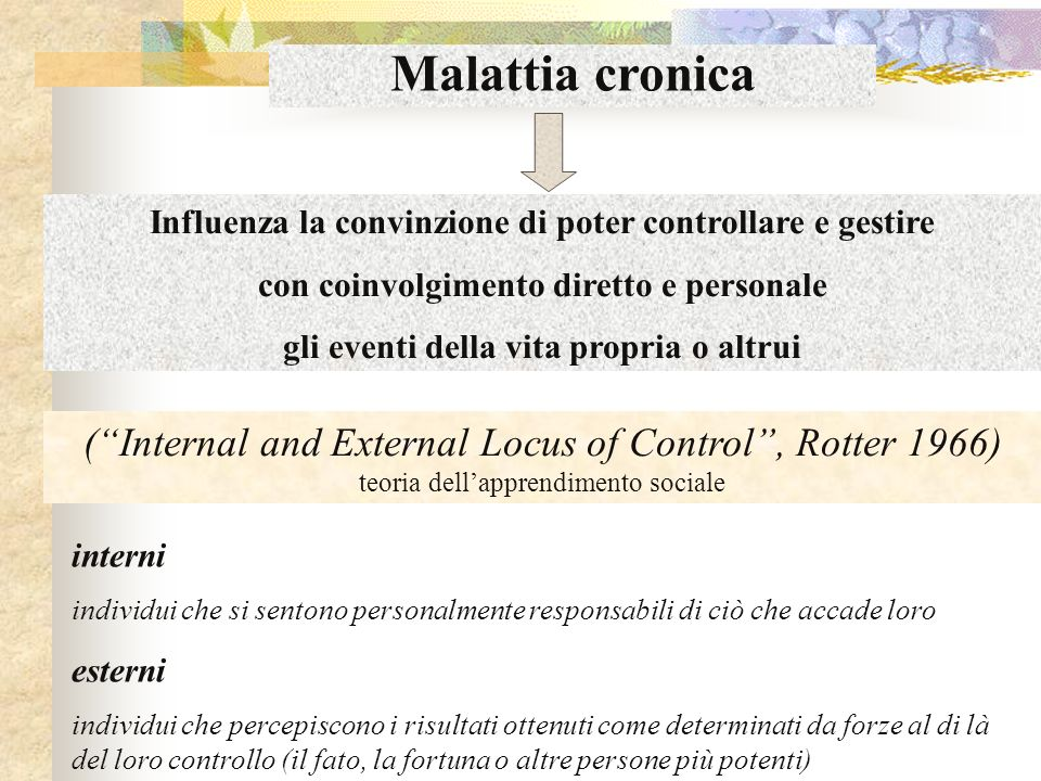 Malattia cronica Influenza la convinzione di poter controllare e gestire con coinvolgimento diretto e personale gli eventi della vita propria o altrui