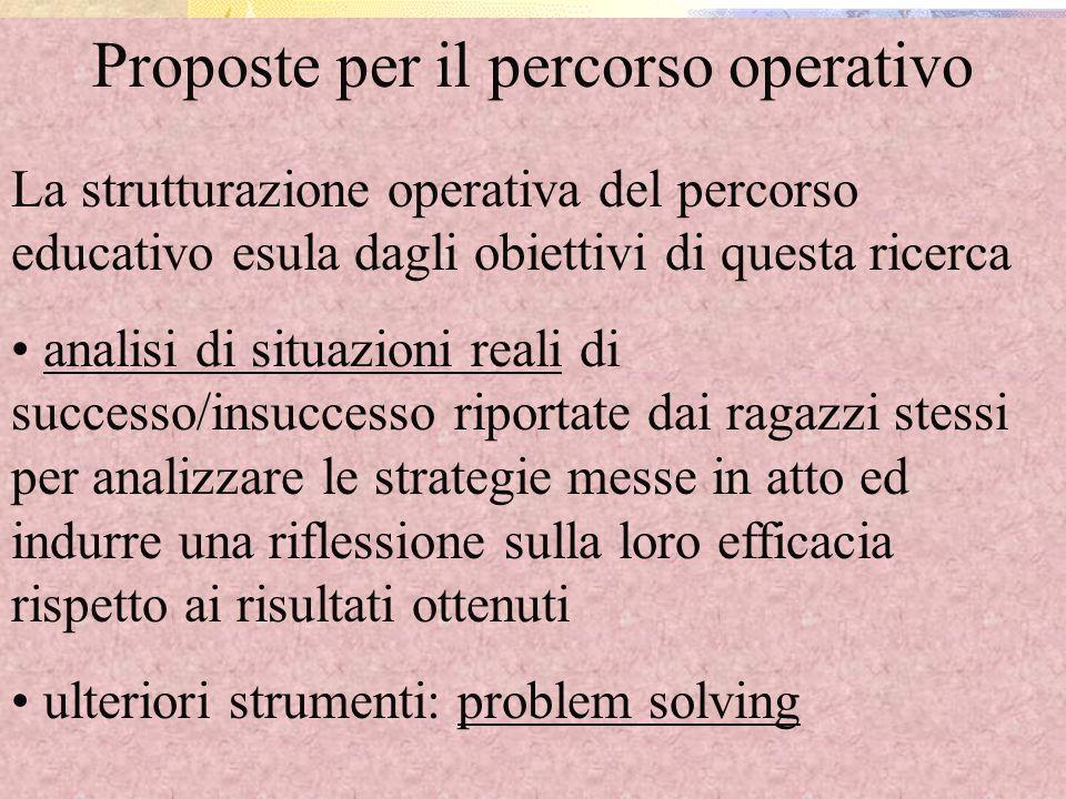Proposte per il percorso operativo La strutturazione operativa del percorso educativo esula dagli obiettivi di questa ricerca analisi di situazioni re
