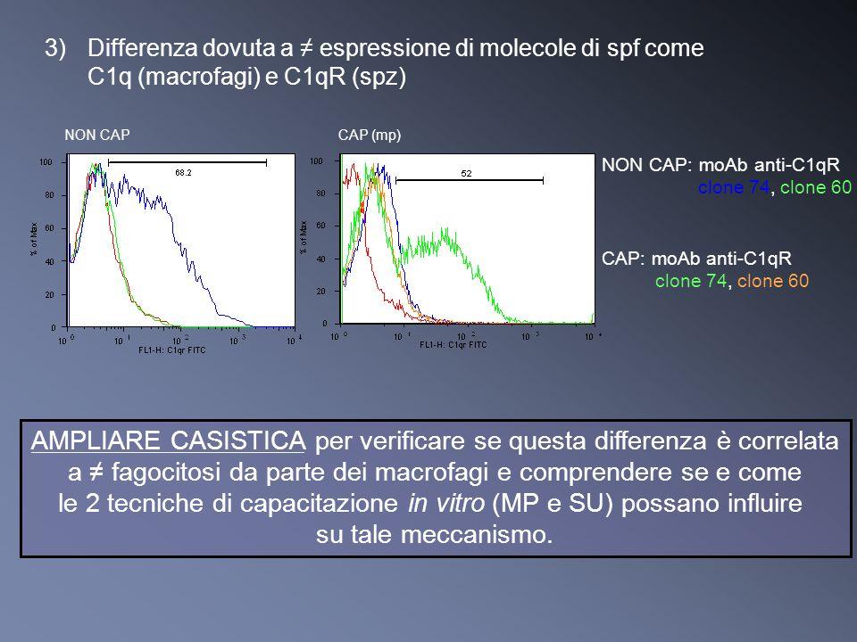 3)Differenza dovuta a espressione di molecole di spf come C1q (macrofagi) e C1qR (spz) AMPLIARE CASISTICA per verificare se questa differenza è correl