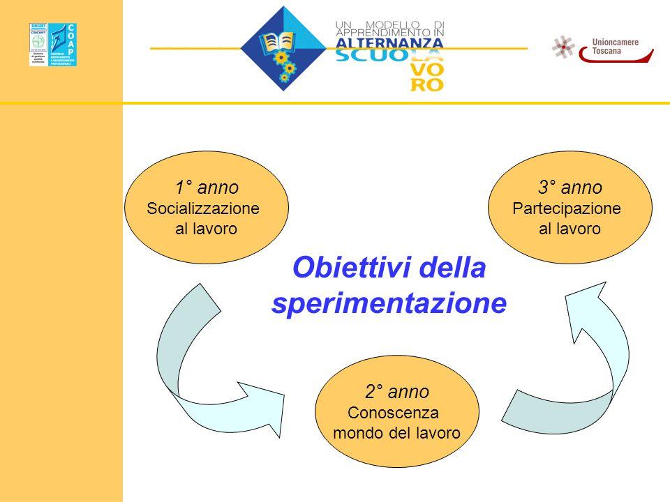 2° anno Conoscenza mondo del lavoro 3° anno Partecipazione al lavoro 1° anno Socializzazione al lavoro Obiettivi della sperimentazione