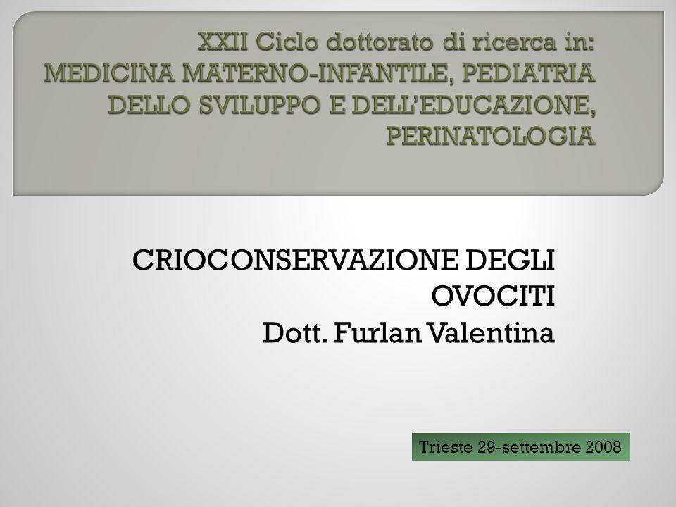 CRIOCONSERVAZIONE DEGLI OVOCITI Dott. Furlan Valentina Trieste 29-settembre 2008