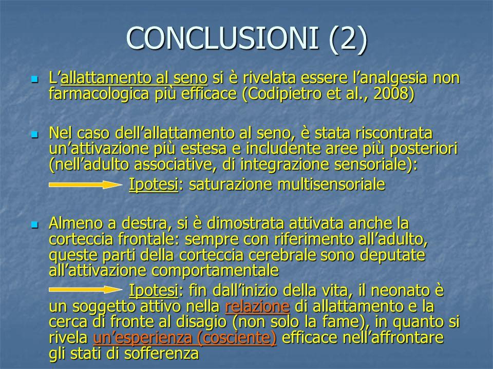 CONCLUSIONI (2) Lallattamento al seno si è rivelata essere lanalgesia non farmacologica più efficace (Codipietro et al., 2008) Lallattamento al seno si è rivelata essere lanalgesia non farmacologica più efficace (Codipietro et al., 2008) Nel caso dellallattamento al seno, è stata riscontrata unattivazione più estesa e includente aree più posteriori (nelladulto associative, di integrazione sensoriale): Nel caso dellallattamento al seno, è stata riscontrata unattivazione più estesa e includente aree più posteriori (nelladulto associative, di integrazione sensoriale): Ipotesi: saturazione multisensoriale Almeno a destra, si è dimostrata attivata anche la corteccia frontale: sempre con riferimento alladulto, queste parti della corteccia cerebrale sono deputate allattivazione comportamentale Almeno a destra, si è dimostrata attivata anche la corteccia frontale: sempre con riferimento alladulto, queste parti della corteccia cerebrale sono deputate allattivazione comportamentale Ipotesi: fin dallinizio della vita, il neonato è un soggetto attivo nella relazione di allattamento e la cerca di fronte al disagio (non solo la fame), in quanto si rivela unesperienza (cosciente) efficace nellaffrontare gli stati di sofferenza