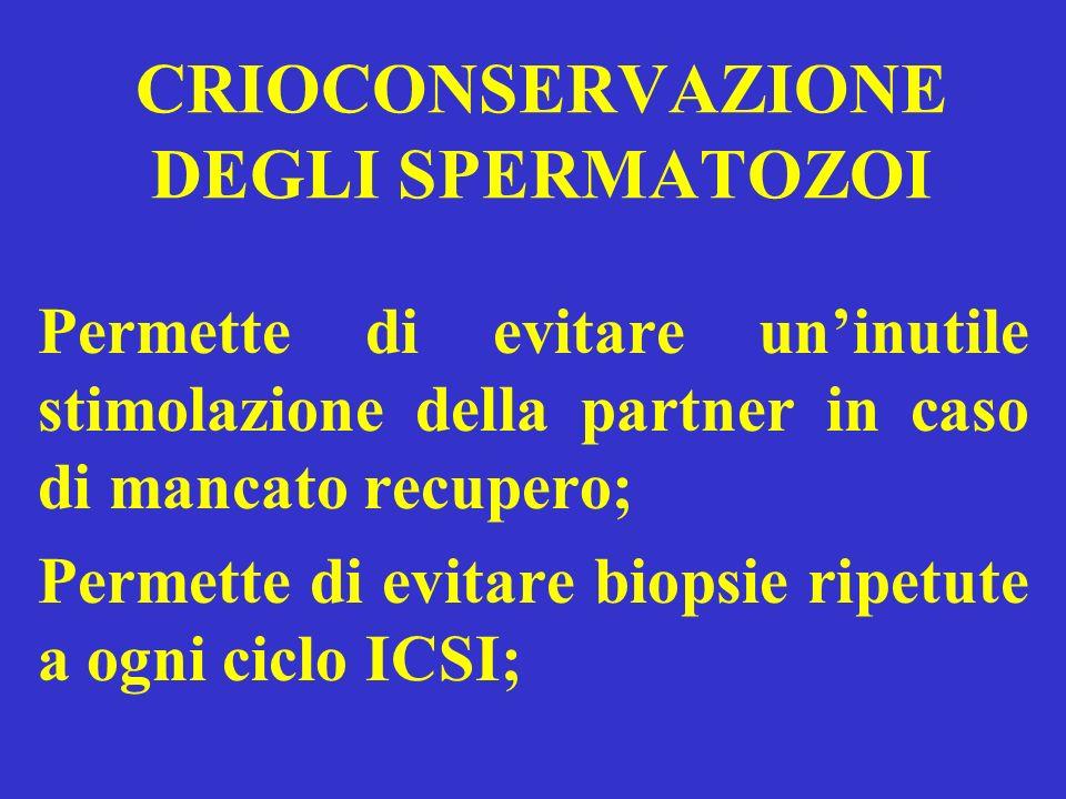 CRIOCONSERVAZIONE DEGLI SPERMATOZOI Permette di evitare uninutile stimolazione della partner in caso di mancato recupero; Permette di evitare biopsie