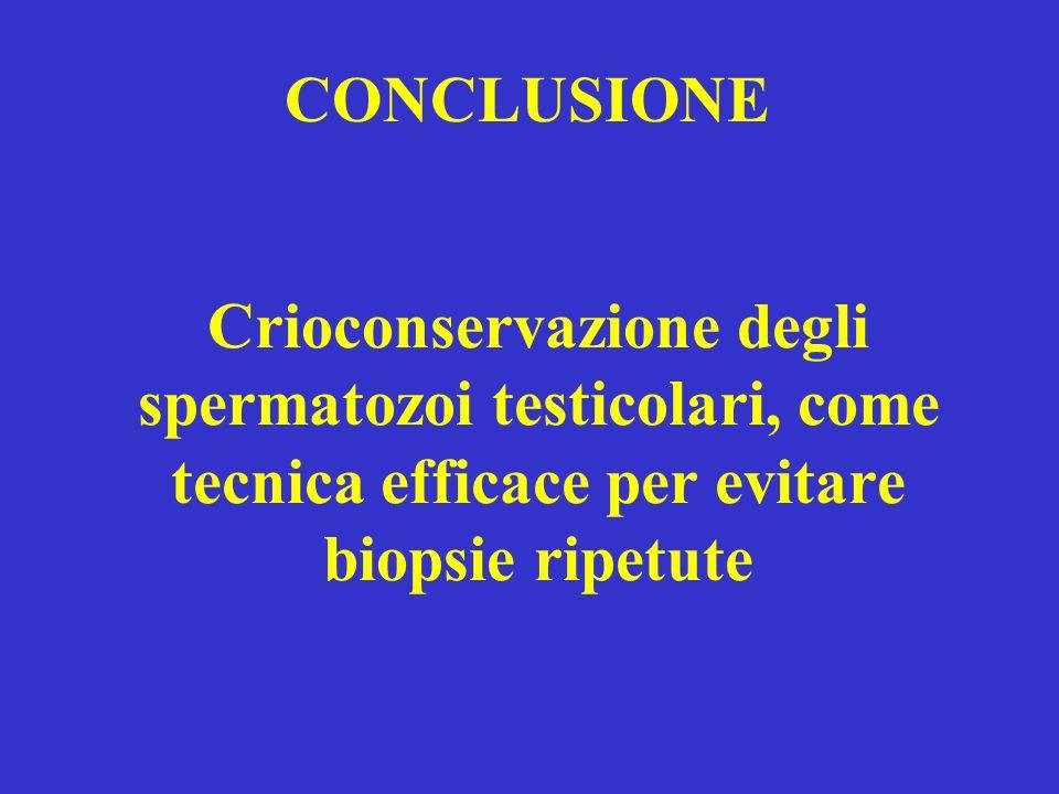 Crioconservazione degli spermatozoi testicolari, come tecnica efficace per evitare biopsie ripetute CONCLUSIONE
