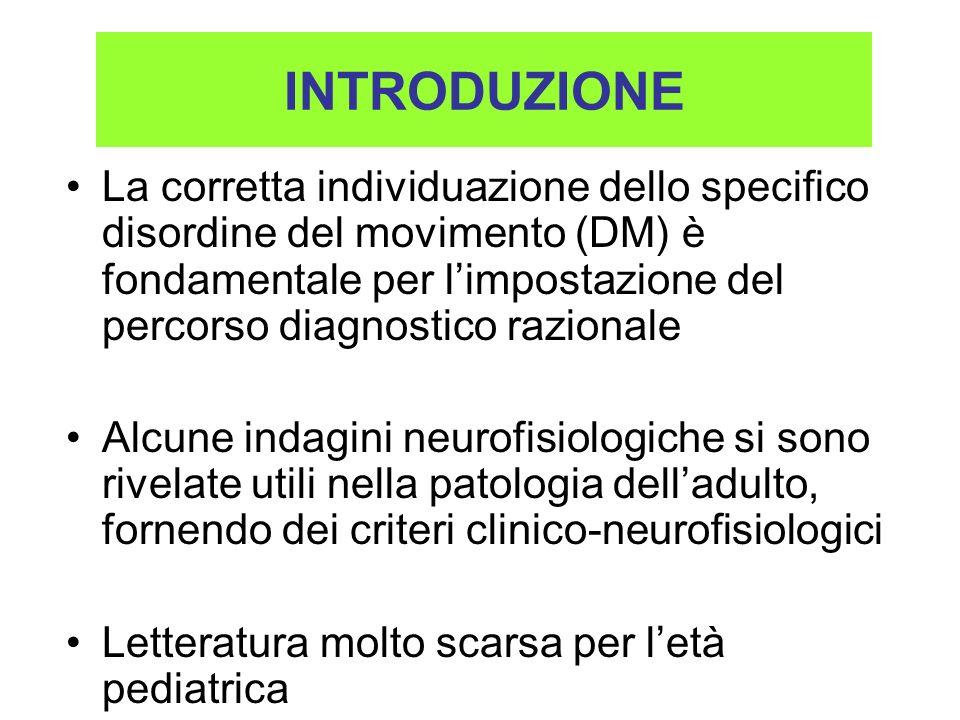 INTRODUZIONE La corretta individuazione dello specifico disordine del movimento (DM) è fondamentale per limpostazione del percorso diagnostico raziona
