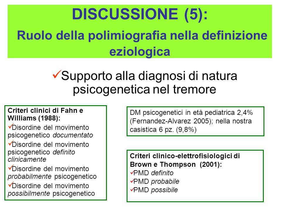 DISCUSSIONE (5): Ruolo della polimiografia nella definizione eziologica Supporto alla diagnosi di natura psicogenetica nel tremore Criteri clinici di