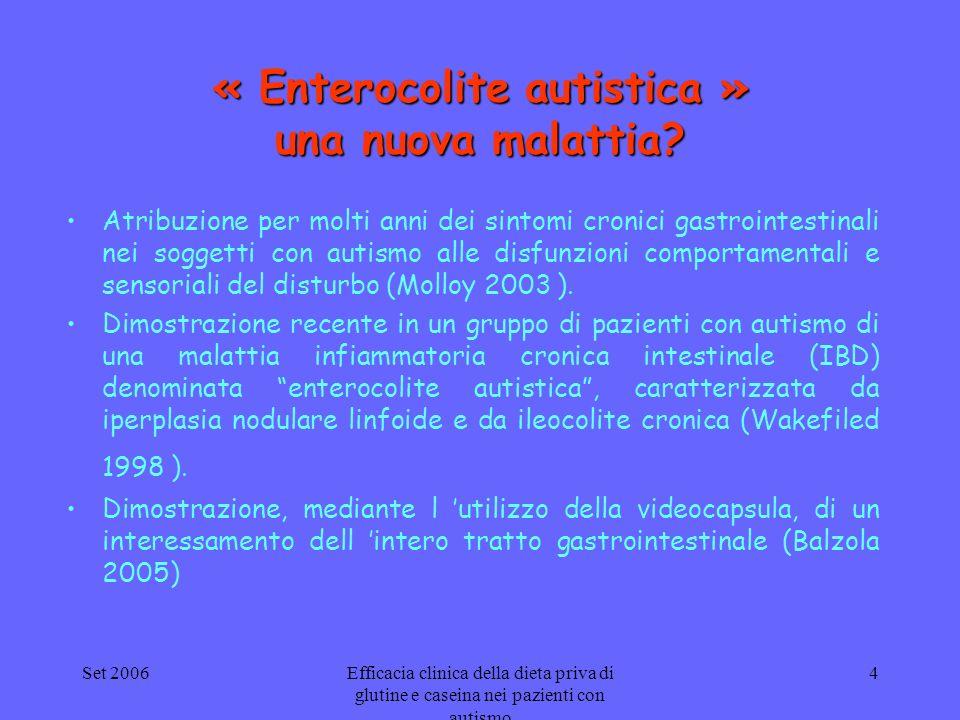 Set 2006Efficacia clinica della dieta priva di glutine e caseina nei pazienti con autismo 4 « Enterocolite autistica » una nuova malattia? Atribuzione