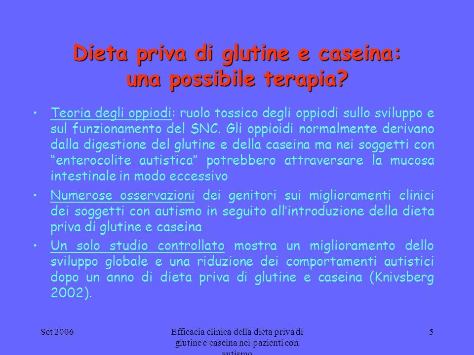 Set 2006Efficacia clinica della dieta priva di glutine e caseina nei pazienti con autismo 5 Dieta priva di glutine e caseina: una possibile terapia? T