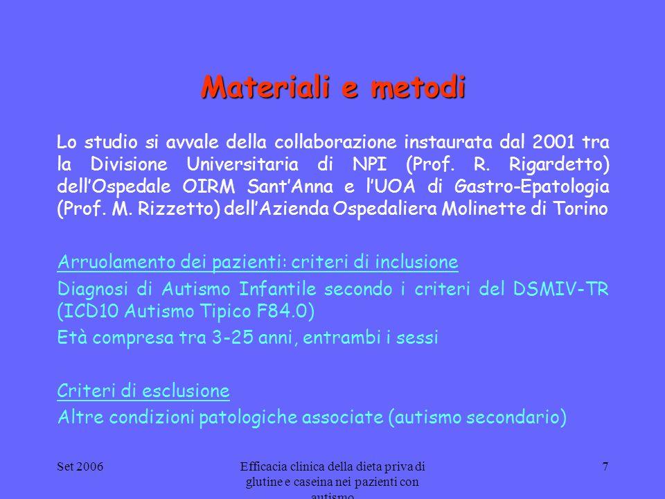 Set 2006Efficacia clinica della dieta priva di glutine e caseina nei pazienti con autismo 7 Materiali e metodi Lo studio si avvale della collaborazion