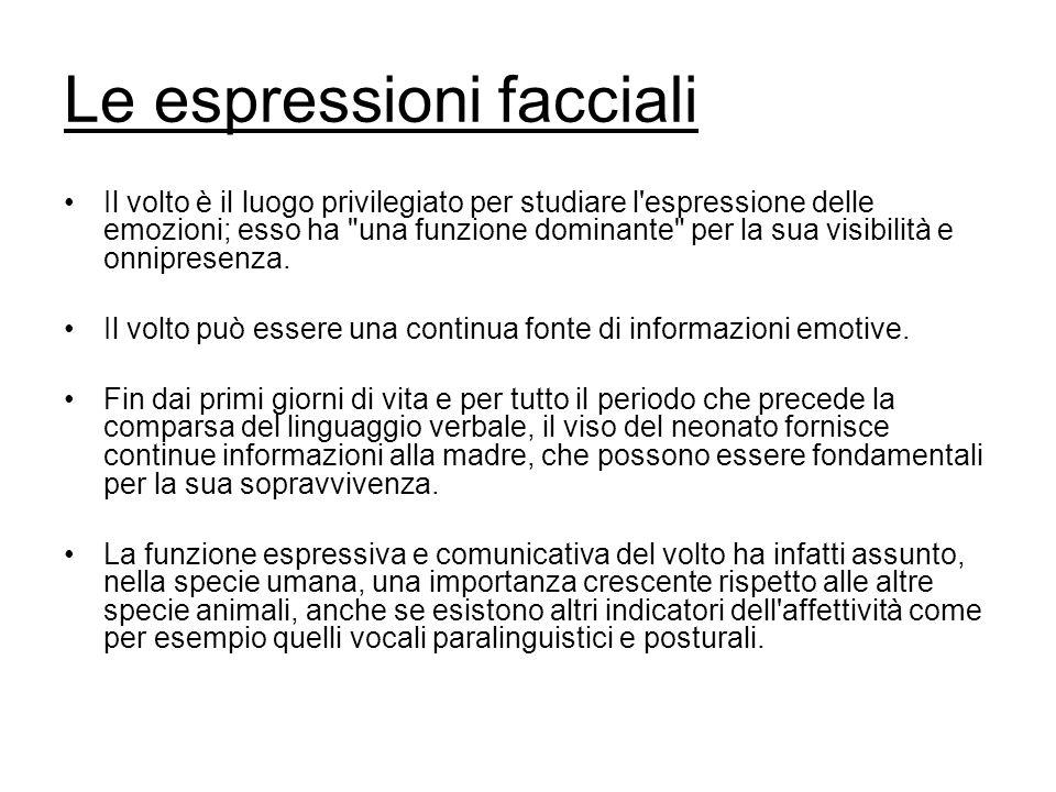 Le espressioni facciali Il volto è il luogo privilegiato per studiare l espressione delle emozioni; esso ha una funzione dominante per la sua visibilità e onnipresenza.