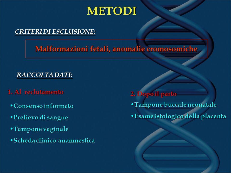 Il sangue materno verrà in parte sottoposto allestrazione del DNA, in parte conservato come banca di DNA genomico potenzialmente utilizzabile in ricerche future METODI ESTRAZIONE DEL DNA: Sistema Custom Golden-Gate Genotyping: reazione di estrazione allele specifica iniziale seguita da una reazione di amplificazione mediante PCR