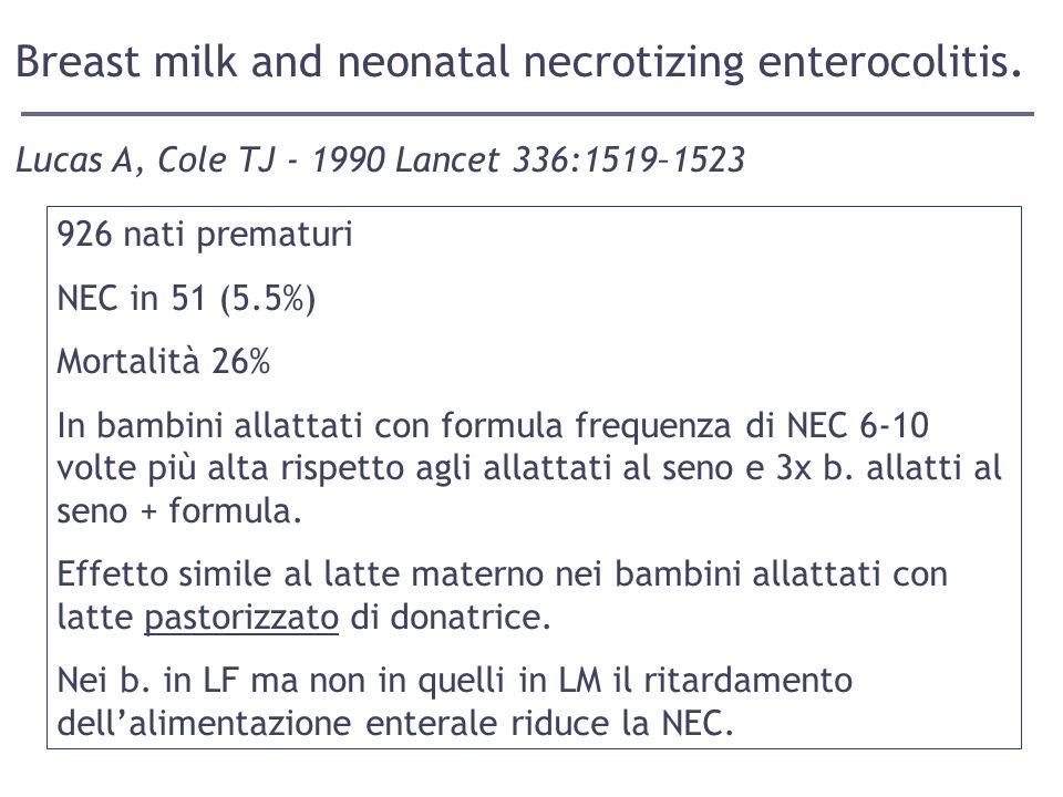 Breast milk and neonatal necrotizing enterocolitis.