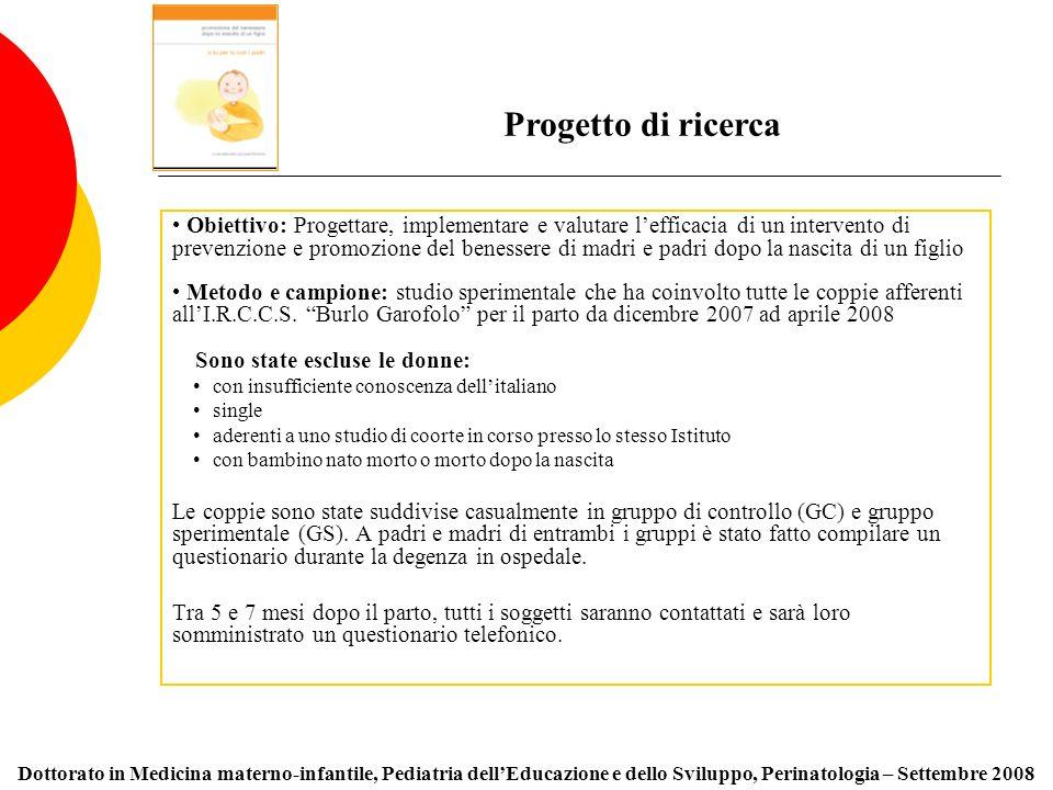 Obiettivo: Progettare, implementare e valutare lefficacia di un intervento di prevenzione e promozione del benessere di madri e padri dopo la nascita