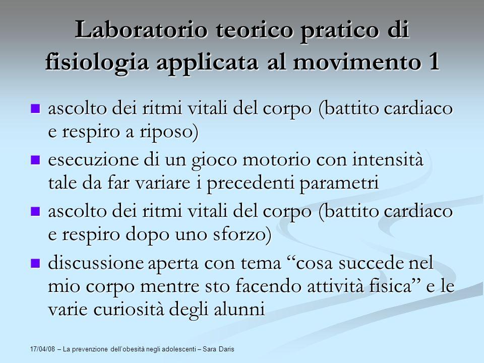 17/04/08 – La prevenzione dellobesità negli adolescenti – Sara Daris Laboratorio teorico pratico di fisiologia applicata al movimento 1 ascolto dei ri