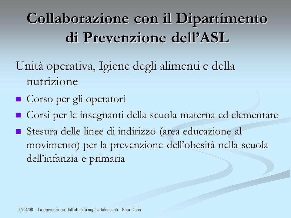 17/04/08 – La prevenzione dellobesità negli adolescenti – Sara Daris Collaborazione con il Dipartimento di Prevenzione dellASL Unità operativa, Igiene