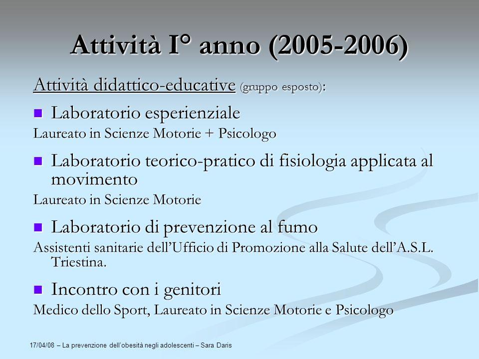 17/04/08 – La prevenzione dellobesità negli adolescenti – Sara Daris Attività I° anno (2005-2006) Attività didattico-educative (gruppo esposto) : Labo