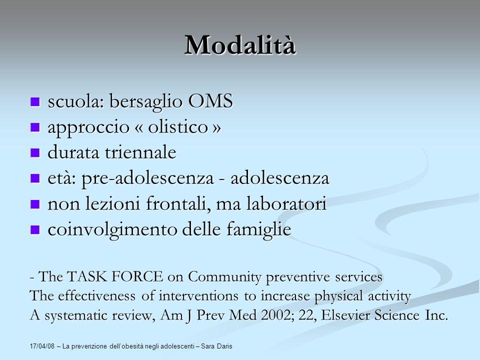 17/04/08 – La prevenzione dellobesità negli adolescenti – Sara Daris Modalità scuola: bersaglio OMS scuola: bersaglio OMS approccio « olistico » appro