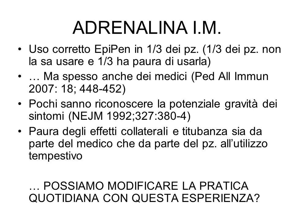 ADRENALINA I.M. Uso corretto EpiPen in 1/3 dei pz. (1/3 dei pz. non la sa usare e 1/3 ha paura di usarla) … Ma spesso anche dei medici (Ped All Immun