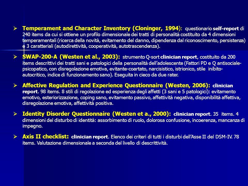 Temperament and Character Inventory (Cloninger, 1994): questionario self-report di 240 items da cui si ottiene un profilo dimensionale dei tratti di personalità costituito da 4 dimensioni temperamentali (ricerca della novità, evitamento del danno, dipendenza dal riconoscimento, persistenza) e 3 caratteriali (autodirettività, cooperatività, autotrascendenza).
