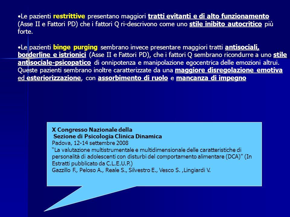 Le pazienti restrittive presentano maggiori tratti evitanti e di alto funzionamento (Asse II e Fattori PD) che i fattori Q ri-descrivono come uno stile inibito autocritico più forte.