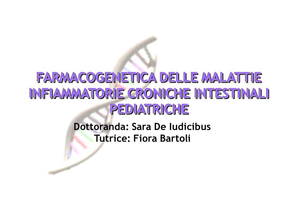 FARMACOGENETICA DELLE MALATTIE INFIAMMATORIE CRONICHE INTESTINALI PEDIATRICHE Dottoranda: Sara De Iudicibus Tutrice: Fiora Bartoli