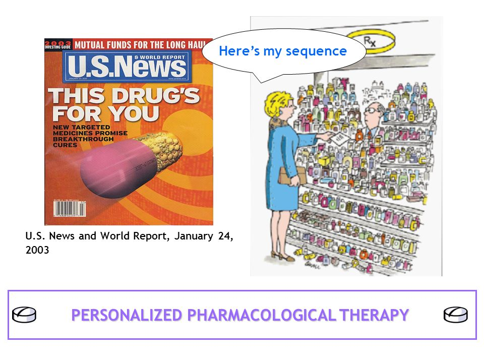 U.S. News and World Report, January 24, 2003 Heres my sequence PERSONALIZED PHARMACOLOGICAL THERAPY