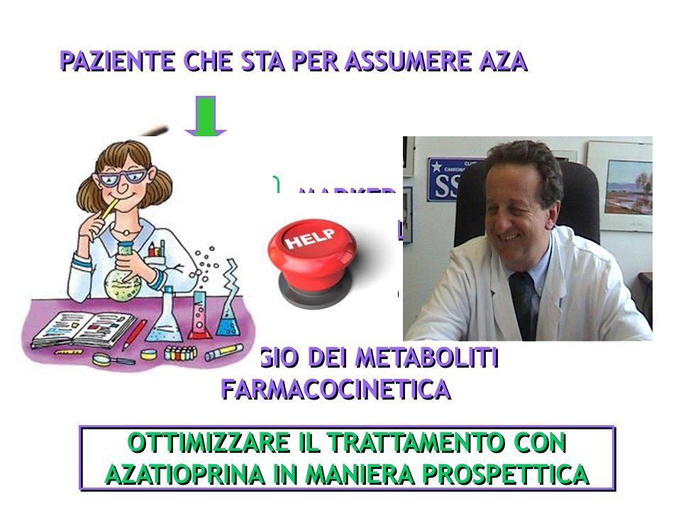 PAZIENTE CHE STA PER ASSUMERE AZA TPMT GST M MARKER GENETICI METABOLISMO DELLAZA DOSAGGIO DEI METABOLITI FARMACOCINETICA DOPO 3 MESI DI TRATTAMENTO OT
