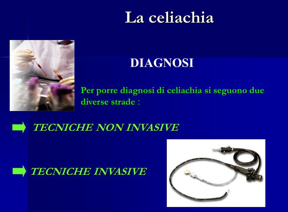 La celiachia La celiachia DIAGNOSI Per porre diagnosi di celiachia si seguono due diverse strade : TECNICHE NON INVASIVE TECNICHE INVASIVE