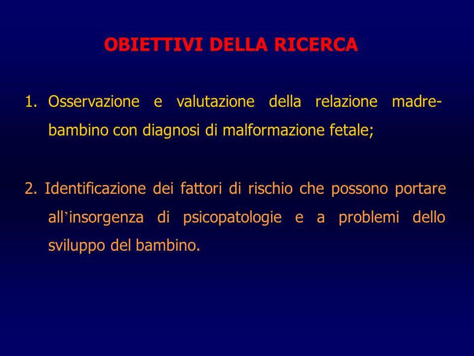 OBIETTIVI DELLA RICERCA 1.Osservazione e valutazione della relazione madre- bambino con diagnosi di malformazione fetale; 2.