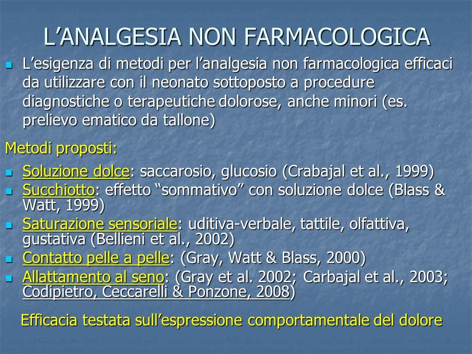 LANALGESIA NON FARMACOLOGICA Lesigenza di metodi per lanalgesia non farmacologica efficaci da utilizzare con il neonato sottoposto a procedure diagnostiche o terapeutiche dolorose, anche minori (es.