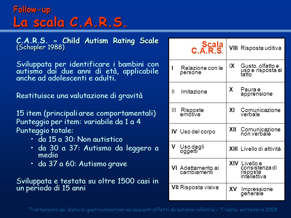 Child Autism Rating Scale (Schopler 1988) C.A.R.S.