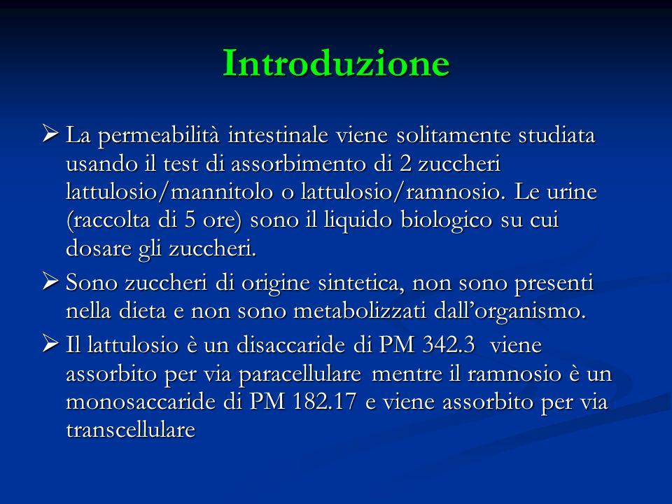 Epitelio intestinale in condizione normale è impermeabile al lattulosio per la sua dimensione mentre è permeabile al ramnosio Epitelio intestinale in condizione normale è impermeabile al lattulosio per la sua dimensione mentre è permeabile al ramnosio Assorbimento dei due zuccheri risulta alterato se intervengono infezioni batteriche o virali ed in particolari situazioni patologiche (malattia celiaca, morbo di crohn) Assorbimento dei due zuccheri risulta alterato se intervengono infezioni batteriche o virali ed in particolari situazioni patologiche (malattia celiaca, morbo di crohn) Il test si basa sulla somministrazione per via orale dei due zuccheri e sul successivo loro dosaggio sulle urine mediante HPLC Il test si basa sulla somministrazione per via orale dei due zuccheri e sul successivo loro dosaggio sulle urine mediante HPLC