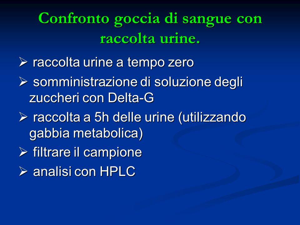 Confronto goccia di sangue con raccolta urine. raccolta urine a tempo zero raccolta urine a tempo zero somministrazione di soluzione degli zuccheri co